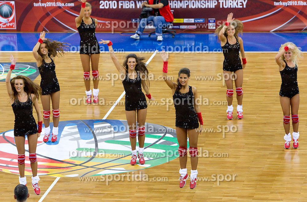 Russian cheerleaders perform during a time out during the Preliminary Round - Group B basketball match between National teams of Slovenia and Croatia at 2010 FIBA World Championships on August 30, 2010 at Abdi Ipekci Arena in Istanbul, Turkey. Slovenia defeated Croatia 91 - 84. (Photo By Vid Ponikvar / Sportida.com)