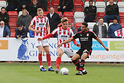 Cameron Pring and Keshi Anderson  during the EFL Sky Bet League 2 match between Cheltenham Town and Swindon Town at LCI Rail Stadium, Cheltenham, England on 27 April 2019.