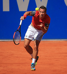 MUNICH, May 7, 2018  Germany's Philipp Kohlschreiber serves during the men's singles final match of BMW Open 2018 against his compatriot Alexander Zverev in Munich, Germany, on May 6, 2018. Alexander Zverev won 2-0 to claim the title. (Credit Image: © Philippe Ruiz/Xinhua via ZUMA Wire)