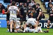 Wasps flanker Thomas Young  under pressure during the Aviva Premiership match between Wasps and Exeter Chiefs at the Ricoh Arena, Coventry, England on 18 February 2018. Picture by Dennis Goodwin.