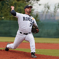 03 June 2010: Starting pitcher Keino Perez of Rouen pitches against C.B. Sant Boi during the 2010 Baseball European Cup match won  8-4 by C.B. Sant Boi over the Rouen Huskies, at the Kravi Hora ballpark, in Brno, Czech Republic.