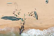 Sri Lanka. Fishermen on an East Coast beach with their Ma Dal. South of Jaffna, North of Trincomalee.