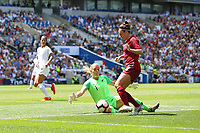 Football - 2019 Womens International Friendly - England Women vs. New Zealand Women<br /> <br /> Englands Jodie Taylor rounds Erin Nayler of New Zealand only for her pulled back cross to be cleared at The Amex Stadium Brighton England<br /> <br /> COLORSPORT/SHAUN BOGGUST