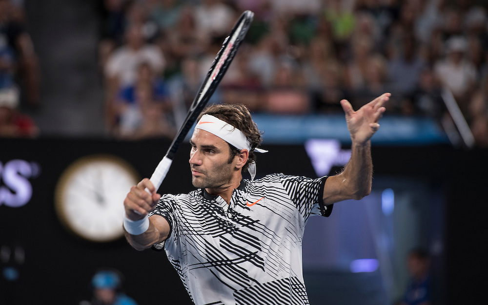Roger Federer of Switzerland takes on Jurgen Melzer of Austria during their first round match on day one of the 2017 Australian Open in Melbourne, Australia on January 16, 2017.<br /> (Ben Solomon/Tennis Australia)