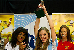 Miss Ghana Mimi Areme, Miss Argentina Mae Screlkove and Miss Spain Laura Garcia-Fernandez as Miss World contestants from the quarter finals FIFA World Cup 2010 at AIPS glamour event on June 30, 2010 at Nelson Mandela Square in Sandton Convention Centre in Johannesburg. (Photo by Vid Ponikvar / Sportida)