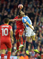 LIVERPOOL, ENGLAND - Sunday, March 8, 2015: Liverpool's Dejan Lovren in action against Blackburn Rovers during the FA Cup 6th Round Quarter-Final match at Anfield. (Pic by David Rawcliffe/Propaganda)