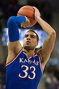 FORT WORTH, TX - FEBRUARY 6: Landen Lucas #33 of the Kansas Jayhawks shoots a free-throw against the TCU Horned Frogs on February 6, 2016 at the Ed and Rae Schollmaier Arena in Fort Worth, Texas.  (Photo by Cooper Neill/Getty Images) *** Local Caption *** Landen Lucas