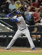 Jul 10, 2013; Phoenix, AZ, USA;  Los Angeles Dodgers infielder Hanley Ramirez (13) at bat against the Arizona Diamondbacks at Chase Field.  The Dodgers defeated the Diamondbacks 7-5 in extra innings.  Mandatory Credit: Jennifer Stewart-USA TODAY Sports