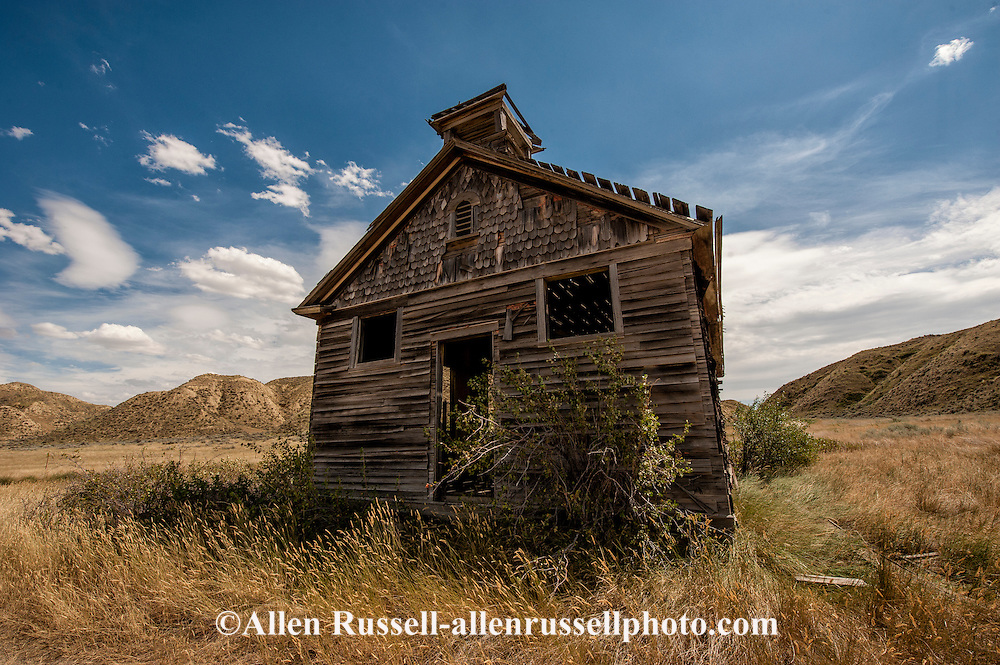 Early 1900 schoolhouse, West of Loma, Montana, near Marias River where it joins Missouri River