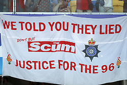 banner of Liverpool FC fans about The Sun. We told you they lied. Don't buy the scum. Justice for the 96 during the UEFA Champions League final between Real Madrid and Liverpool on May 26, 2018 at NSC Olimpiyskiy Stadium in Kyiv, Ukraine