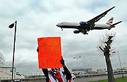 27/03/2010..BA cabin crew strike for a second time around the perimeter of Heathrow Airport...