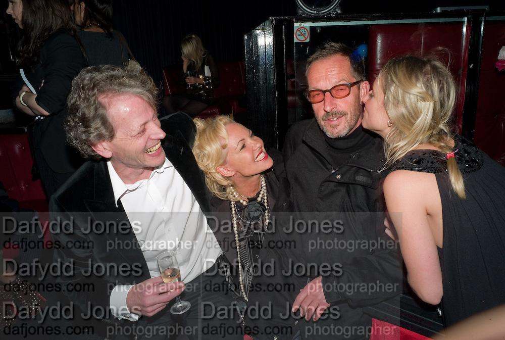 TIM WILLIS; AMANDA ELIASCH; JACK ENGLISH; ALEXANDRA SHIPP, Cloak and Dagger, - Amanda Eliasch - book launch - Entertainment by Miss Polly Rae and her Hurly Burly girls. <br />Soho Revue Bar, 11-12 Walkers Court, London *** Local Caption *** -DO NOT ARCHIVE-© Copyright Photograph by Dafydd Jones. 248 Clapham Rd. London SW9 0PZ. Tel 0207 820 0771. www.dafjones.com.