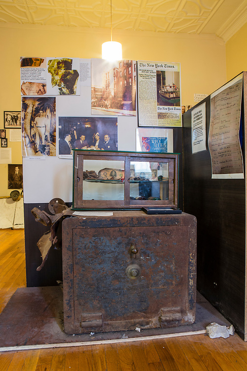 A safe from the basement of The Museum of the American Gangter, housed in a former speakeasy on the Lower East Side of New York. When opened, the safe was found to contain $2 million in cash.