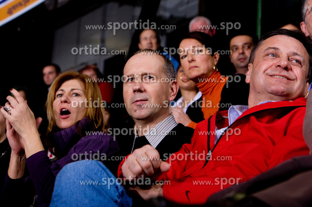 Tanja Polajnar, Bojan Petan and Zoran Jankovic at handball match of Round 5 of Champions League between RK Krim Mercator and Metz Handball, France, on January 9, 2010 in Kodeljevo, Ljubljana, Slovenia. (Photo by Vid Ponikvar / Sportida)
