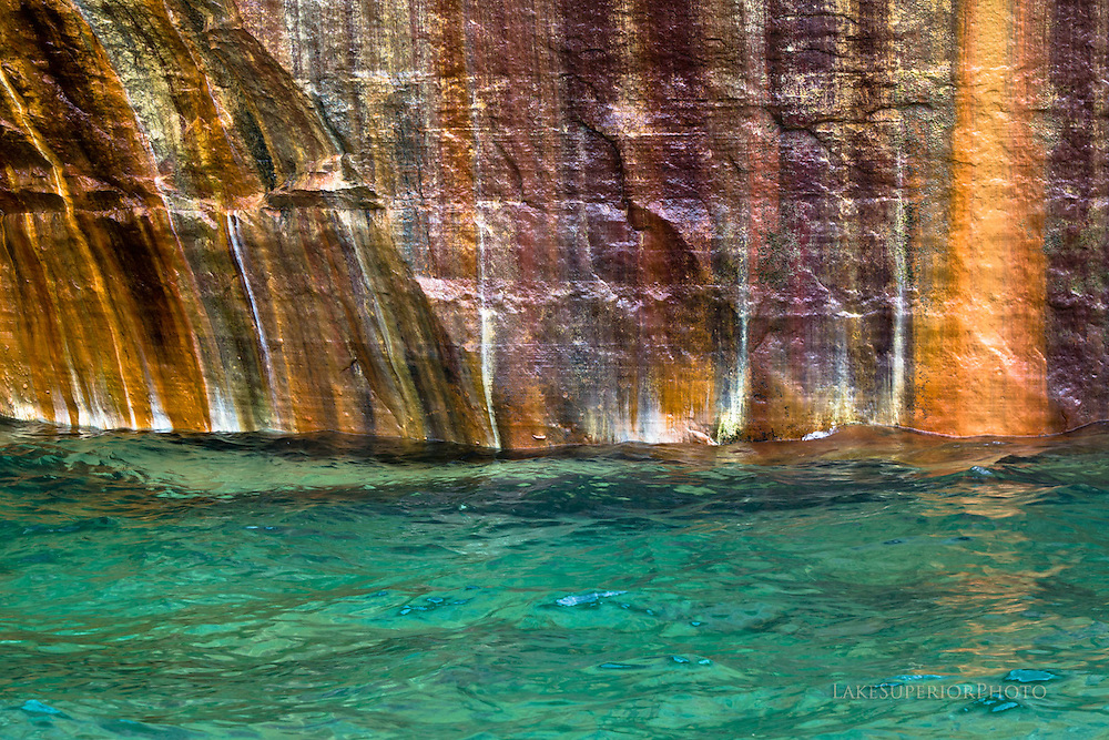 Pictured Rocks, emerald water, painted cliffs