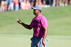 September 1, 2018 - Norton, Massachusetts, United States - Tiger Woods waves to the crowd after putting the 10th green during the second round of the Dell Technologies Championship. (Credit Image: © Debby Wong/ZUMA Wire)