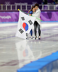 February 18, 2018 - Gangneung, South Korea - Gold medal winner NAO KODAIRA, right, of Japan comforts Silver medal winner LEE SANG-HWA of Korea after Speed Skating: Ladies' 500m at Gangneung Oval at the 2018 Pyeongchang Winter Olympic Games. (Credit Image: © Scott Mc Kiernan via ZUMA Wire)