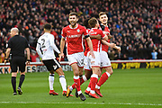 Barnsley FC celebrate goal scored by Barnsley FC defender Liam Lindsay (6) to go 1-0 during the EFL Sky Bet Championship match between Barnsley and Fulham at Oakwell, Barnsley, England on 27 January 2018. Photo by Ian Lyall.