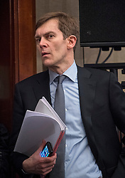 © Licensed to London News Pictures. 14/04/2016. London, UK. Seumas Milne, advisor to Jeremy Corbyn   attends a speech by the leader of the Labour Party, arguing the case for Britain remaining in Europe, at Senate House in London. The Uk is due to vote in and in out referendum in their membership of the EU on June 23rd, 2016.  Photo credit: Ben Cawthra/LNP