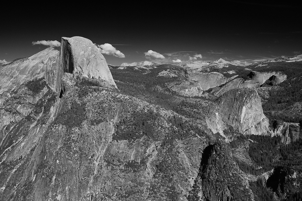 Half Dome And Little Yosemite Valley - Glacier Point View - Yosemite - Black & White