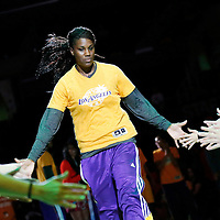22 June 2014: center Jantel Lavender (42) of the Los Angeles Sparks is seen during the players introduction prior to the San Antonio Stars 72-69 victory over the Los Angeles Sparks, at the Staples Center, Los Angeles, California, USA.