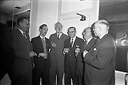 111/01/1963<br /> 01/11/1963<br /> 11 January 1963<br /> Leipzig Fair reception and film show at the Gresham Hotel, Dublin. Pictured are (l-r): Herbert Dick, Walton's Musical Galleries, Dublin; P Walton, Walton's; M. Walton, Walton's; K. Ticher; Denis Hayes, Leipzig Fair Agency in Great Britain and Edward Kennedy, Walton's.