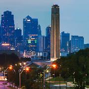 Downtown Kansas City skyline Panorama photo at dusk