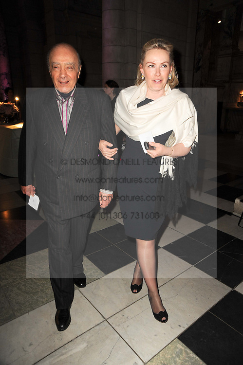MOHAMED AL FAYED and his wife HEINI at the opening of the Victoria & Albert Museum's latest exhibition 'Grace Kelly: Style Icon' opened by His Serene Highness Prince Albert of Monaco at the V&A on 15th April 2010.