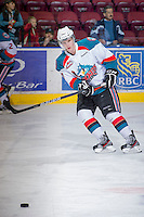 KELOWNA, CANADA - JANUARY 2: Damon Severson #7 of the Kelowna Rockets warms up on the ice against the  Victoria Royals at the Kelowna Rockets on January 2, 2013 at Prospera Place in Kelowna, British Columbia, Canada (Photo by Marissa Baecker/Shoot the Breeze) *** Local Caption ***