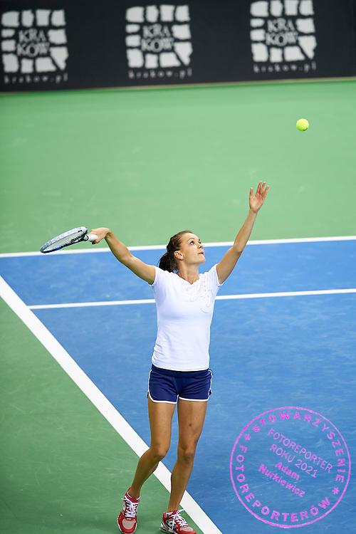 Agnieszka Radwanska from Poland plays during official training session two days before the Fed Cup / World Group 1st round tennis match between Poland and Russia at Krakow Arena on February 5, 2015 in Cracow, Poland.<br /> <br /> Poland, Cracow, February 5, 2015<br /> <br /> Picture also available in RAW (NEF) or TIFF format on special request.<br /> <br /> For editorial use only. Any commercial or promotional use requires permission.<br /> <br /> Adam Nurkiewicz declares that he has no rights to the image of people at the photographs of his authorship.<br /> <br /> Mandatory credit:<br /> Photo by &copy; Adam Nurkiewicz / Mediasport