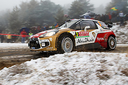 16.01.2014, Shakedownstrecke, Gap, FRA, FIA, WRC, Rallye Monte Carlo, 1.Tag, SS Laborel 1, im Bild MEEKE Kris / NAGLE Paul ( CITROEN TOTAL ABU DHABI WRT (FRA) / CITROEN DS3 ), Schnee, Aktion / Action // during the Shakedown on day one of FIA Rallye Monte Carlo held near Monte Carlo, France on 2014/01/16. EXPA Pictures © 2014, PhotoCredit: EXPA/ Eibner-Pressefoto/ Neis<br /> <br /> *****ATTENTION - OUT of GER*****