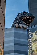 "Godzilla (Gojira) head and claw on Hotel Gracery (2015), in Kabukicho entertainment and neon red-light district, in Shinjuku ward, in Tokyo, Japan. The character first appeared in Ishiro Honda's 1954 film Godzilla and became a worldwide pop culture icon, appearing in various media, including 32 films produced by Toho, three Hollywood films and numerous video games, novels, comic books and television shows. It is often dubbed ""the King of the Monsters"", a phrase first used in ""Godzilla, King of the Monsters!"", the Americanized version of the original film. Hotel Gracery supports a life-sized bust of Godzilla on the eighth floor, a tribute to the legendary movie monster and production company Toho Co. The building hosts a 12-screen cinema and IMAX theater. Kabukicho was named from late-1940s plans to build a kabuki theater which never happened."