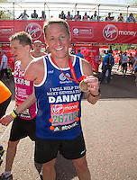 2004 Paralympian Danny Crates at the end of the Virgin Money London Marathon 2014 on Sunday 13 April 2014<br /> Photo: Roger Allan/Virgin Money London Marathon<br /> media@london-marathon.co.uk