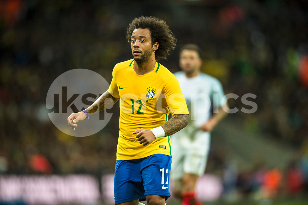 Marcelo of Brazil in action during the international friendly match between England and Brazil at Wembley Stadium, London, England on 14 November 2017. Photo by Darren Musgrove.