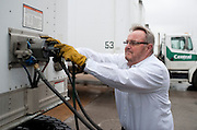 America's Road Team captain Gary Babbitt hooks his truck up to a trailer in Dallas on Wednesday, April 3, 2013. (Cooper Neill/The Dallas Morning News)