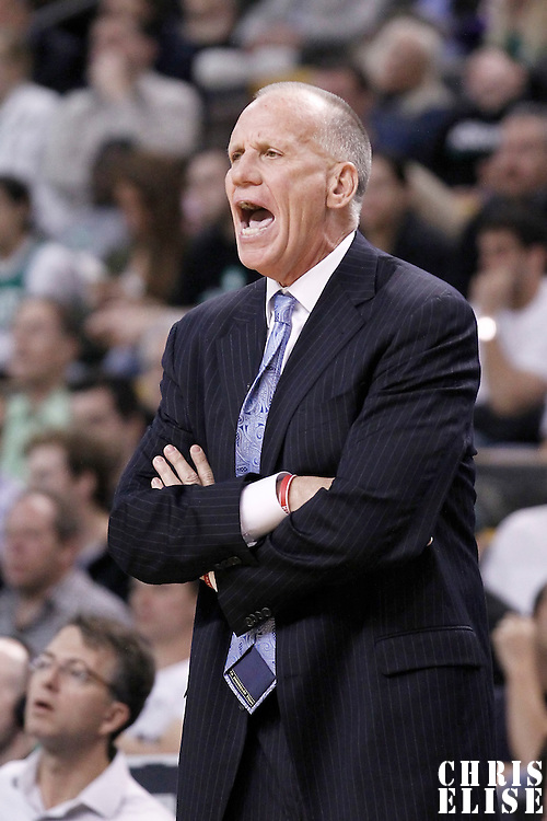 21 May 2012: Philadelphia Sixers head coach Doug Collins yells during the Boston Celtics 101-85 victory over the Philadelphia Sixer, in Game 5 of the Eastern Conference semifinals playoff series, at the TD Banknorth Garden, Boston, Massachusetts, USA.