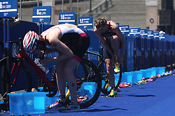 Jessica Learmonth of Great Britain in the transition during the Elite Women race of the Discovery Triathlon World Cup Cape Town leg held at Green Point in Cape Town, South Africa on the 11th February 2017.<br /> <br /> Photo by Shaun Roy/RealTime Images