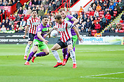 Sheffield Utd forward Billy Sharp (10) controls the ball in the box during the EFL Sky Bet Championship match between Sheffield United and Bristol City at Bramall Lane, Sheffield, England on 30 March 2019.