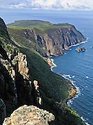 An easy hike views Cape Raoul, in Tasman National Park, Tasmania, Australia.