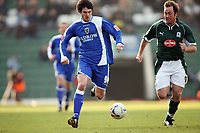 Cardiffs goal scorer Steven Thompson runs with the ball, chased by Michael Evans of PLymouth<br /> <br /> Photo: Richard Eaton.<br /> <br /> Plymouth Argyle v Cardiff City. Coca Cola Championship. 18/03/2006.