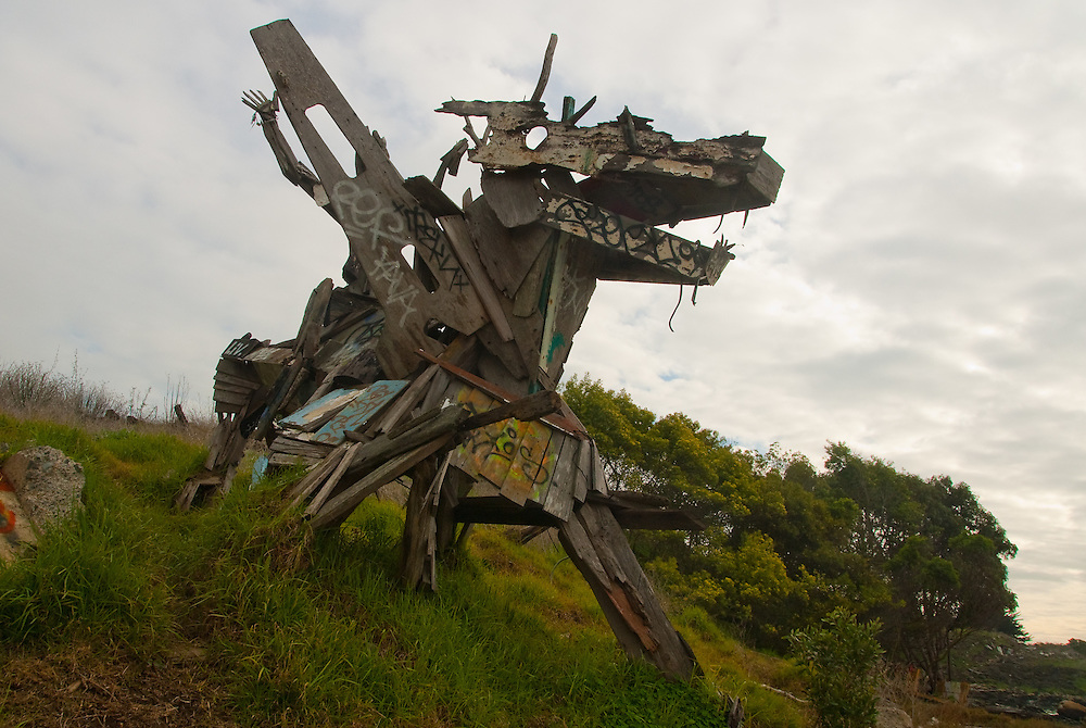 Dragon sculpture at the Albany Bulb, constructed from found objects.