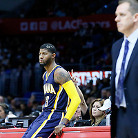 02 December 2015: Indiana Pacers forward Paul George (13) waits to enter the game, close to Indiana Pacers head coach Frank Vogel during the Indiana Pacers 103-91 victory over the Los Angeles Clippers, at the Staples Center, Los Angeles, California, USA.