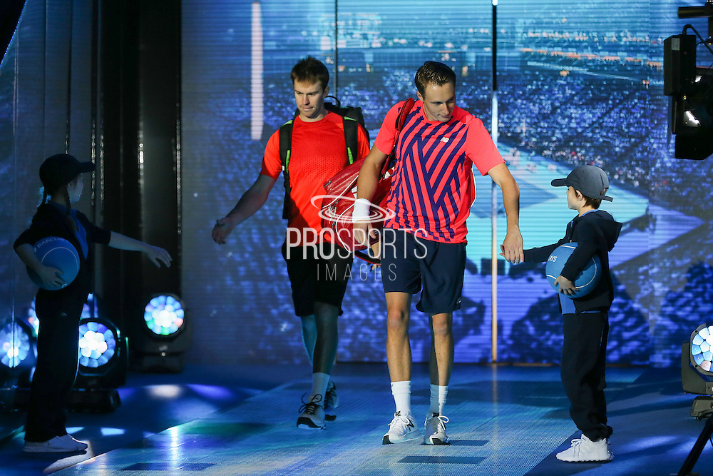 John Peers (Australia) left and Henri Kontinen (Finland) right come to court  during the doubles final of the Barclays ATP World Tour Finals at the O2 Arena, London, United Kingdom on 20 November 2016. Photo by Phil Duncan.