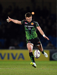 Exeter Chiefs' Fly Half, Henry Slade kicks for touch  - Photo mandatory by-line: Joe Meredith/JMP - Mobile: 07966 386802 - 24/01/2015 - SPORT - Rugby - Exeter - Sandy Park Stadium - Exeter Chiefs v Bayonne - Challenge Cup Round 6