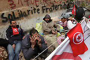 Tunisians from south regions camp under the the Prime Minister's office demanding the dissolution of the interim governement...On 17 december Mohamed Bouazizi a fruit seller form the city of Sidibouzid in Tunisia set fire to himself starting a wave of protest that will change several arab countries under the name of Arab Spring..Despite the dictator Zine El-Abidine Ben Ali left the country on 14 January after weeks of protest the demonstrations continue asking for the political party of the regime (RCD) and all the political men involved on the past government where banned from the political life ..