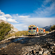 Colorfull trucks near Losar, Spiti Valley, India