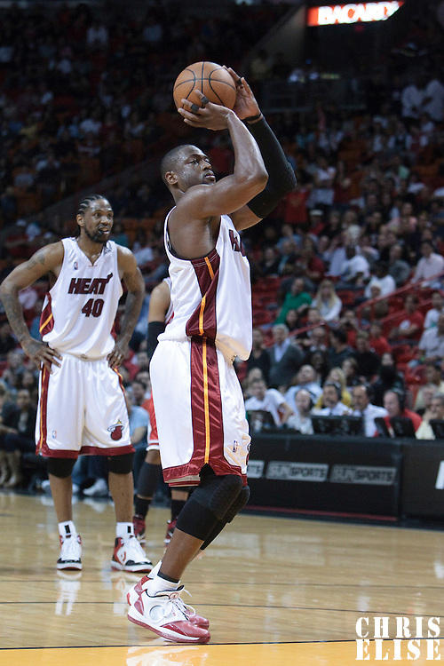 12 March 2010:  Miami Heat guard Dwyane Wade is seen at the free throw line during the Miami Heat 108-95 victory over the Chicago Bulls at the AmericanAirlines  Arena, in Miami, Florida, USA.
