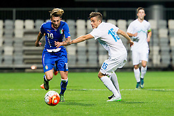 Frederico Bernardeschi of Italy and Denis Sme of Slovenia during football match between U21 National Teams of Slovenia and Italy in 4th Round of UEFA 2017 European Under-21 Championship Qualification on October 8, 2015 in stadium Bonifika, Koper / Capodistria, Slovenia. Photo by Urban Urbanc / Sportida