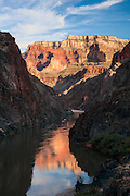 There are very few places where you can see the rim of the Grand Canyon from the Colorado River. This view is from a spot in the Inner Gorge and it looks up to Mohave Point and Hopi Point on the South Rim.
