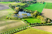 Nederland, Zeeland, Gemeente Borsele, 19-10-2014;  Zak van Zuid-Beveland, omgeving Nisse.  Kleinschalig landschap van binnendijken en kleine polders, 'oudland'. Restanten van een vroegere dijkdoorbraak.<br /> Old Polders and dikes, remnants of an old dike breach, Zealand, Southwest Netherlands.<br /> luchtfoto (toeslag op standard tarieven);<br /> aerial photo (additional fee required);<br /> copyright foto/photo Siebe Swart